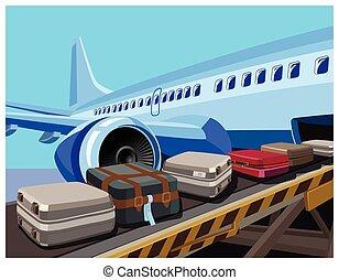 bagages, avion, civil