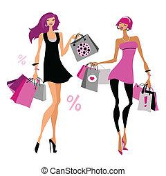 bags., achats, femmes
