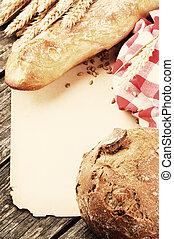 baguette, cadre, pain, vendange