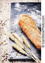 baguette, cuit, blé, fraîchement, francais