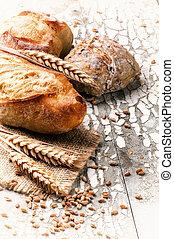 baguette, rustique, chignons, monture, fraîchement, cuit