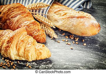 baguette, rustique, monture, fraîchement, croissants, cuit
