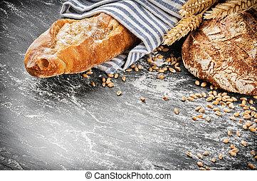 baguette, rustique, monture, fraîchement, pain cuit four