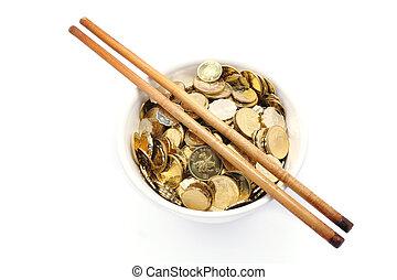 baguettes, argent, bol