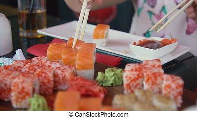 baguettes, prend, sushi, girl