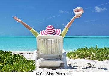 bahamas, coquille, exuma, regarder, sunbed, ocean., girl