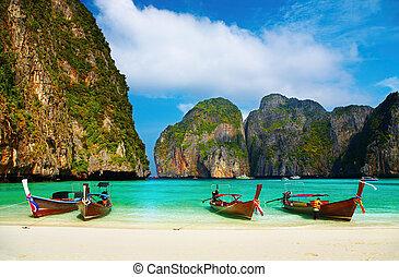 baie, exotique, maya, plage, thaïlande