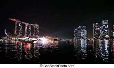 baie, singapour, nuit