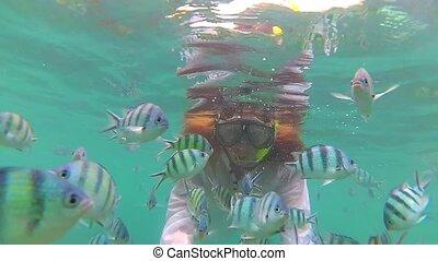 baigner, fish., masks., thailand., mer, plongée, girl, phangan, scaphandre