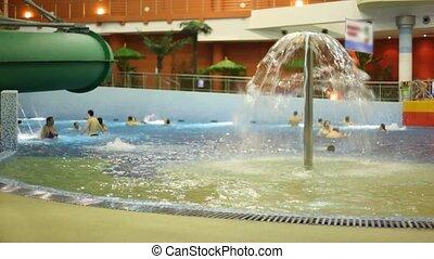 baigner, gens, parc, fontaine eau, piscine
