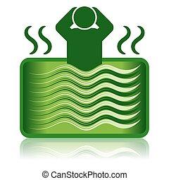 baignoire, baquet chaud, bain, vert, /, spa