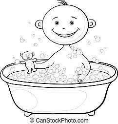 bain, laver, contours, bébé