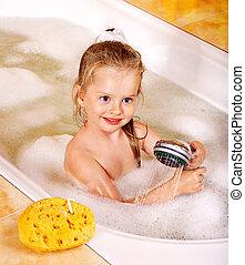bain moussant, lavage, enfant