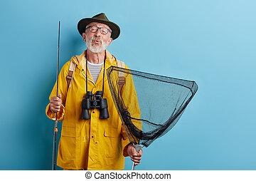 baiser, binoculaire, jaune, grren, filet chapeau, raincaot, homme, tige, envoi