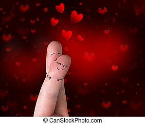 baiser, love's, -, valentin, doigts
