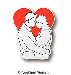 baisers, amant, isolé, noir rouge, couple, dessiné, main, coeur, concept., art., forme, coupure, valentin, ombre, papier, ligne, arrière-plan., vecteur, blanc