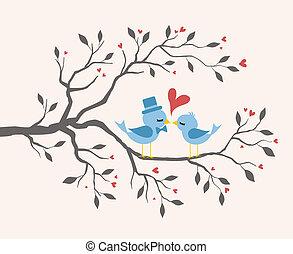 baisers, amour, arbre, oiseaux