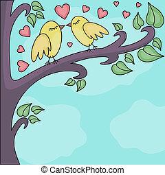 baisers, brunch, oiseaux