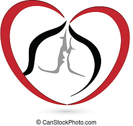 baisers, coeur, couple, forme, logo