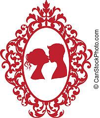 baisers, couple, cadre