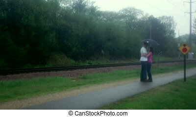 baisers, couple, pluie