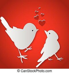 baisers, oiseaux, jour, valentine