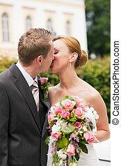 baisers, parc, mariage, -