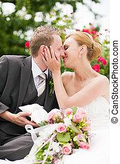 baisers, -, parc, mariage