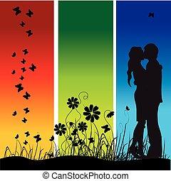 baisers, pré, silhouette, couple, noir