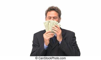 baisers, sien, argent, homme affaires