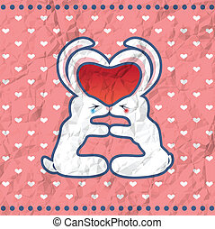 baisers, valentine, lapins, carte, vendange