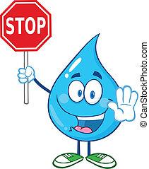 baisse eau, arrêt, tenue, signe
