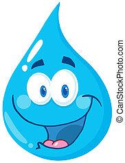 baisse eau, caractère, dessin animé
