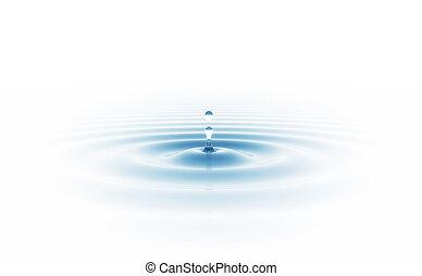 baisse eau, isolé, blanc