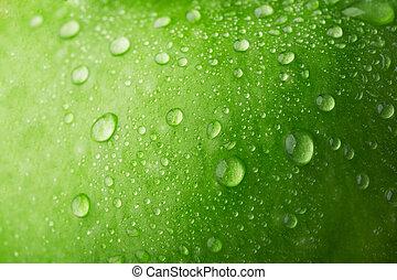 baisse eau, pomme verte, surface
