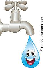 baisse eau, robinet