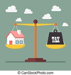 balance équilibre, maison, impôt