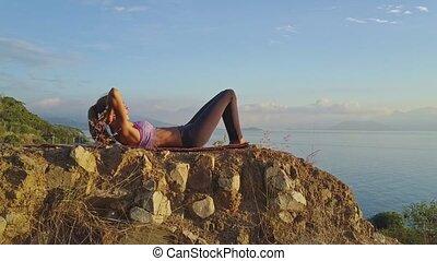 balance, athlétique, abdomen, merveilleux, presse, girl, escarpé, falaise