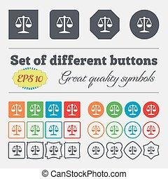 balance, buttons., high-quality, grand, signe., coloré, vecteur, divers, ensemble, icône