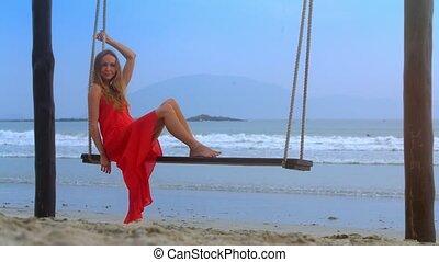 balance, contre, océan, azur, girl, banc, assied, gentil
