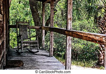 balancer, vieux, chaise, porche