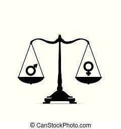 balances, égalité, illustration, signe