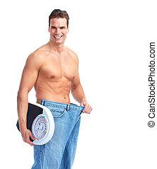balances., heureux, homme, fitness