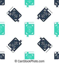balances, icône, isolé, statut, livre, justice, arrière-plan., droit & loi, blanc vert, modèle, vecteur, seamless