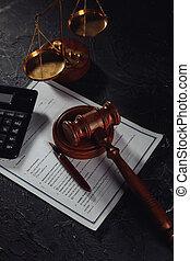 balances, important, accord, juge, droit & loi, justice, marteau, court., concept