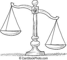 balances, justice, déséquilibré, croquis