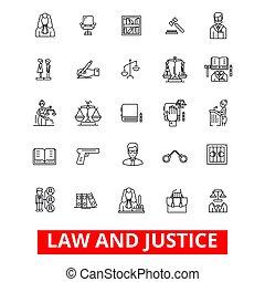 balances, tribunal, strokes., conception, signes, marteau, avocat, concept., isolé, légal, blanc, avocat, plat, linéaire, business, symbole, editable, icons., illustration, fond, juge, ligne, cabinet juridique, justice, vecteur