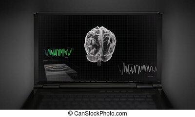 balayage, écran, vague, cerveau, blanc, 3d