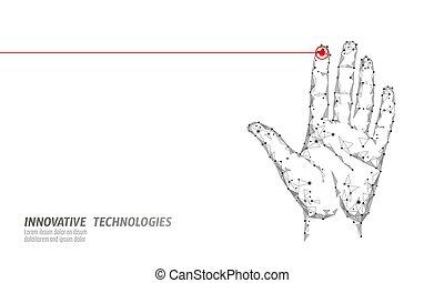 balayage, access., handprint, cyber, biométrie, technologie, id, réseau information, personnel, futuriste, identification, bas, internet, sécurité, main, poly, empreinte doigt, données, identité, security., vecteur, vérification, code.