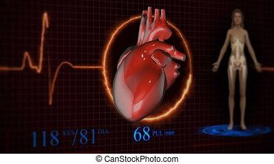 balayage, analyse, anatomie, healthcare., avenir, futuriste, humain, médecine, concept:, touch.